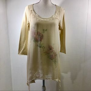 Johnny Was 4 Love And Liberty Floral Sheer Top. S